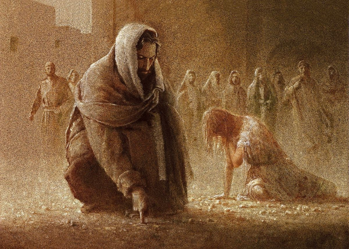 Jesus forgives a woman caught in adultery brought to him by the Jews